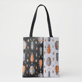 Orange & Gray Bugs Pattern On Black & White Tote Bag