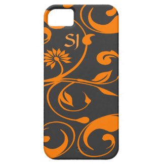 Orange gray daisy flower monogram iPhone 5 case
