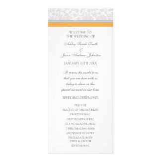 Orange Gray Damask Wedding Program Rack Card