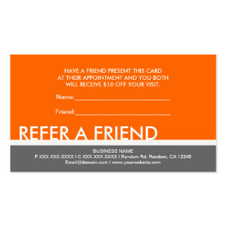 Orange gray simple refer a friend custom cards pack of standard business cards