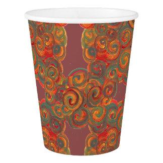 orange gray yellow paint swirls paper cup
