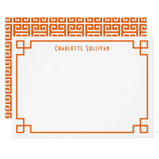 Orange Greek Key Border Personalised Stationery Card