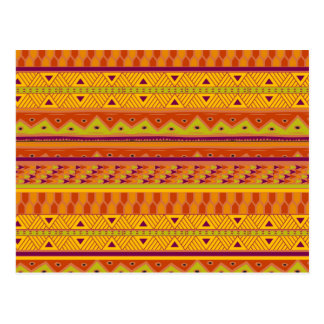 Orange Green Abstract Aztec Tribal Print Pattern Postcard