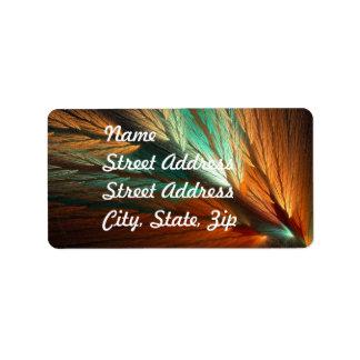 Orange & Green Abstract Fractal Address Sticker Address Label