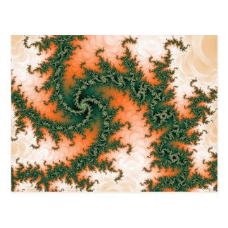 Orange Green Abstract Swirl Postcard