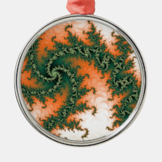 Orange Green Abstract Swirl Silver-Colored Round Decoration
