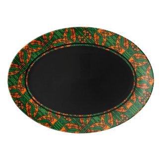 Orange Green And Black Gecko Lizard Pattern Porcelain Serving Platter