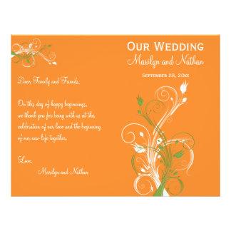 Orange, Green, and White Floral Wedding Program 21.5 Cm X 28 Cm Flyer