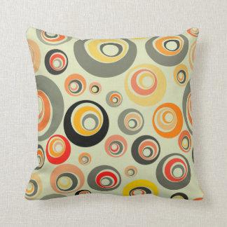 Orange, green and yellow circles cushion