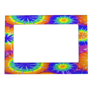 Orange green and yellow tie dye magnetic frame