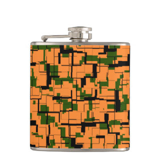Orange Green Black Digital Camo Pattern Hip Flask