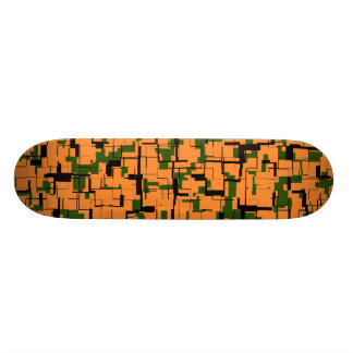 Orange Green Black Digital Camo Pattern Skateboard