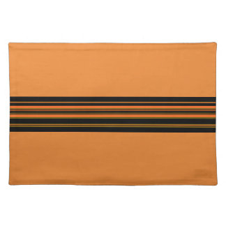 Orange Green Black Stripes Placemat
