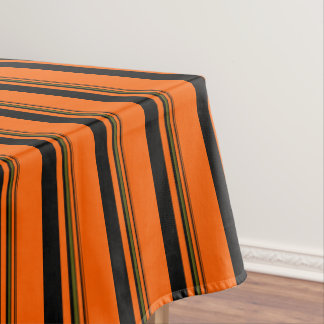 Orange Green Black Stripes Tablecloth