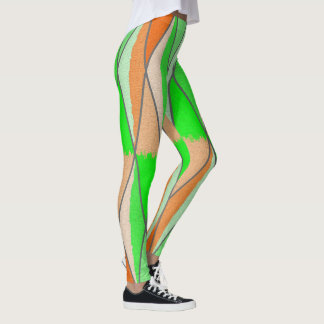 Orange/Green Diamond Leggings