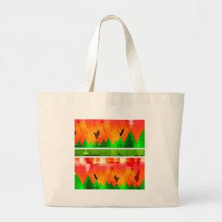 Orange Green Fall themed Wallpaper Large Tote Bag