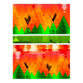 Orange Green Fall themed Wallpaper Postcard