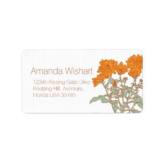 Orange green flower wedding reply address label