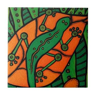 Orange Green Gecko Lizard Tile