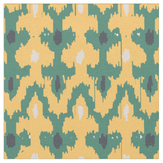Orange Green Geometric Ikat Decorative Pattern Fabric