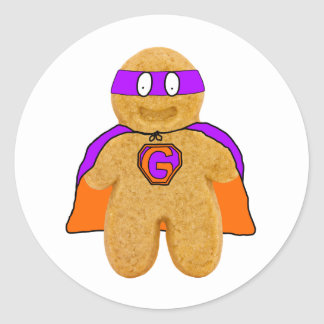 orange/ green gingerbread man super hero sticker