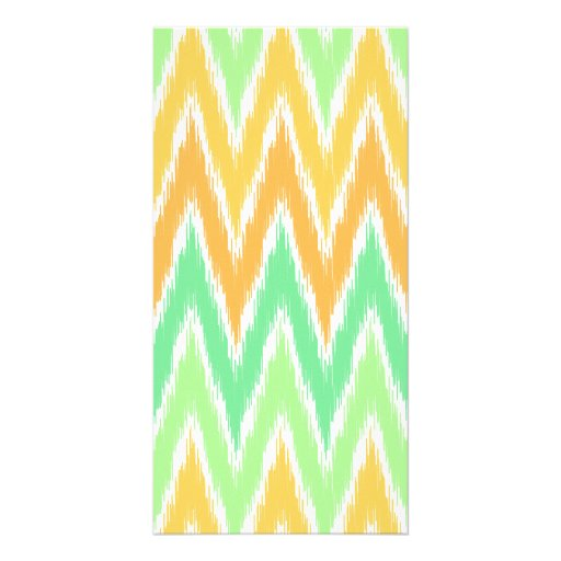 Orange Green Ikat Chevron Zig Zag Stripes Pattern Personalized Photo Card