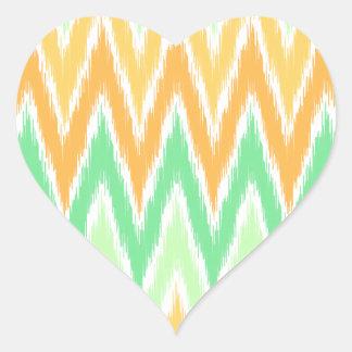 Orange Green Ikat Chevron Zig Zag Stripes Pattern Heart Sticker