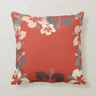 Orange, Green & Ivory Hibiscus Floral Cushion