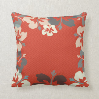 Orange, Green & Ivory Hibiscus Floral Throw Pillow