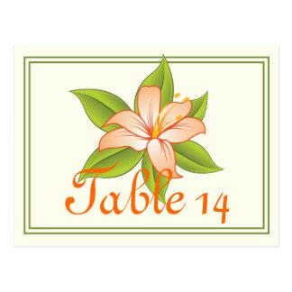Orange green lily wedding table number postcard