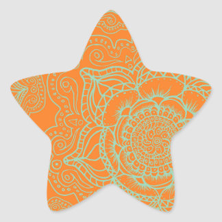 Orange Green Mandala Pattern Star Sticker