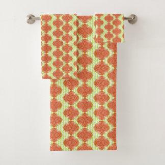 Orange Green Mix Vintage Floral Damage Classy Bath Towel Set