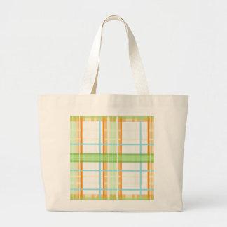 Orange & Green Modern Plaid Design Tote Bags