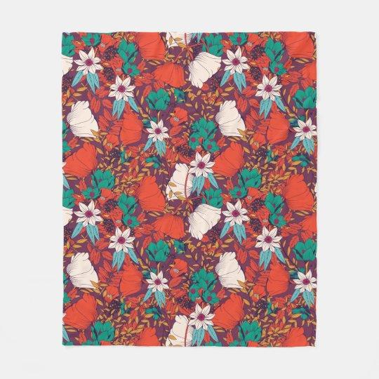 Orange green vintage flowers art pattern fleece blanket