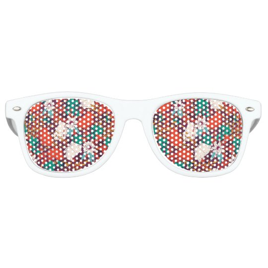 Orange green vintage flowers art pattern retro sunglasses