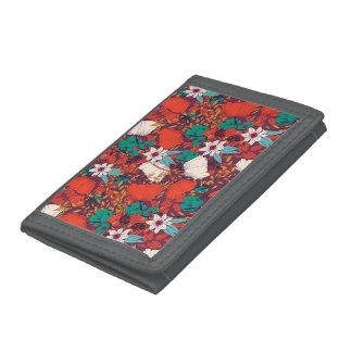 Orange green vintage flowers art pattern trifold wallets