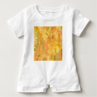 Orange Green Watercolor Baby Romper Baby Bodysuit