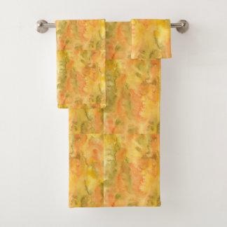 Orange Green Watercolor Towel Set
