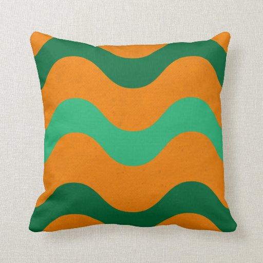 Orange & Green Waves American MoJo Pillows