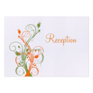 Orange Green White Floral Reception Enclosure Card Business Cards