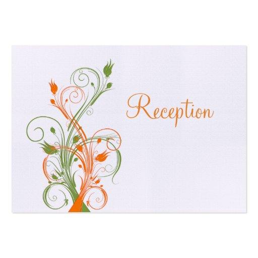 Orange Green White Floral Reception Enclosure Card Business Cards