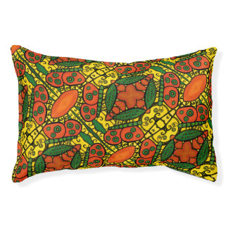 Orange Green Yellow Butterfly Pattern Pet Bed