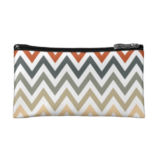 Orange Grey Chevron Geometric Designs Color Cosmetic Bags