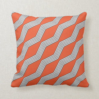 Orange & Grey Chevron Throw Cushion