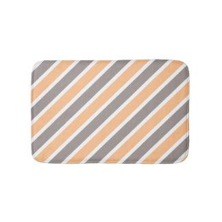 Orange Grey Diagonal Stripes Bath Mats