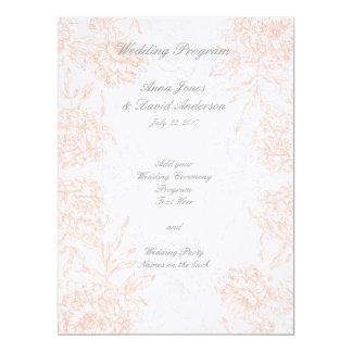 Orange Grey Floral Vintage Wedding Program 17 Cm X 22 Cm Invitation Card