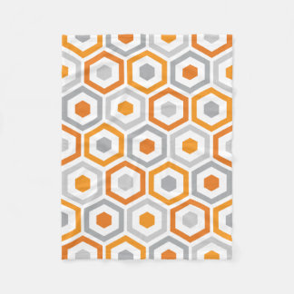 Orange Grey Retro Geometric Pattern Fleece Blanket