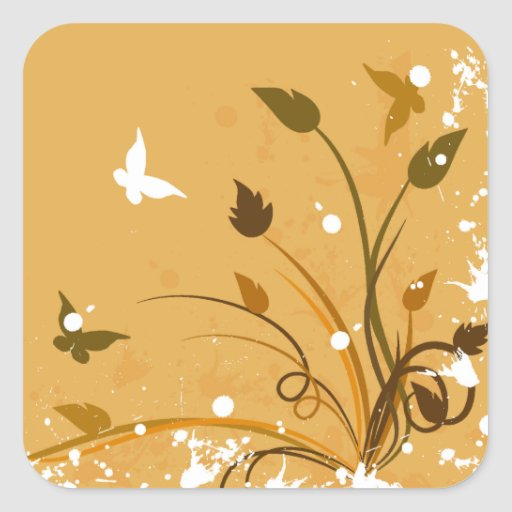 Orange Grunge Butterfly Square Stickers
