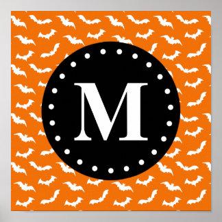 Orange Halloween Bat Pattern Black Monogram Print