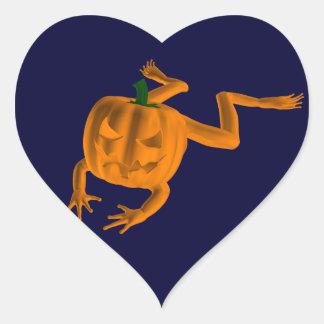 Orange Halloween Frog Heart Sticker